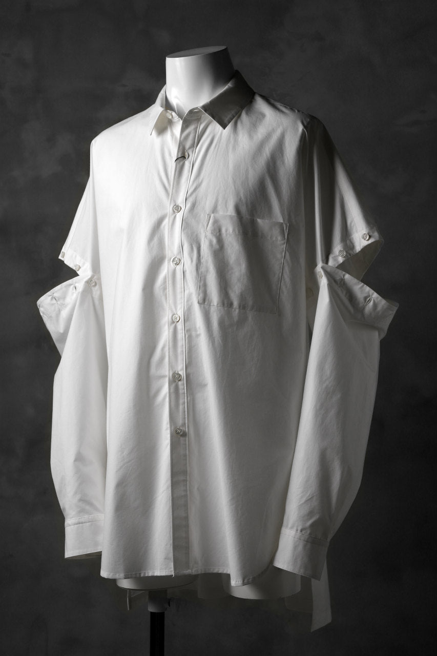 KAZUYUKI KUMAGAI Paneled Shirt Detachable-Detail / Typewriter C/Silk (WHITE)