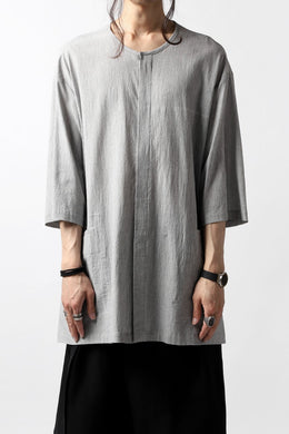 The Viridi-anne NO COLLAR RELAXED H/S SHIRT / SALT SHRINKAGE STRIPE
