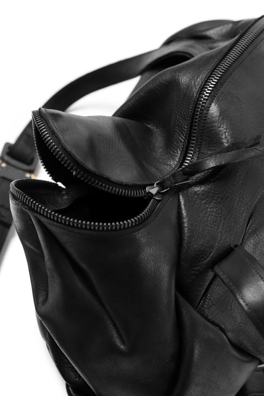 LEON EMANUEL BLANCK exclusive DISTORTION SMALL WEEKENDER BAG / GUIDI HORSE LEATHER (BLACK)