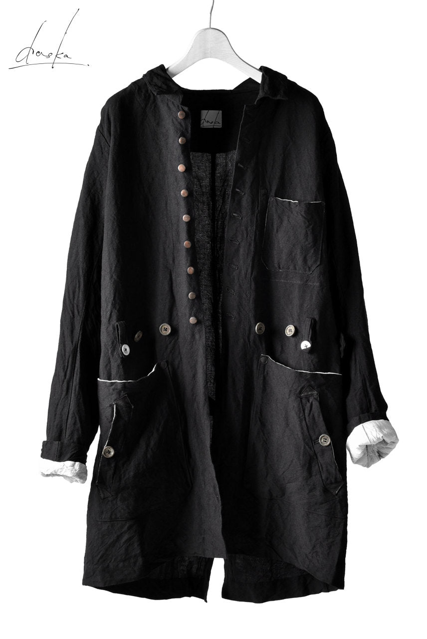 Load image into Gallery viewer, daska atelier coat / bamboo-linen (BLACK)