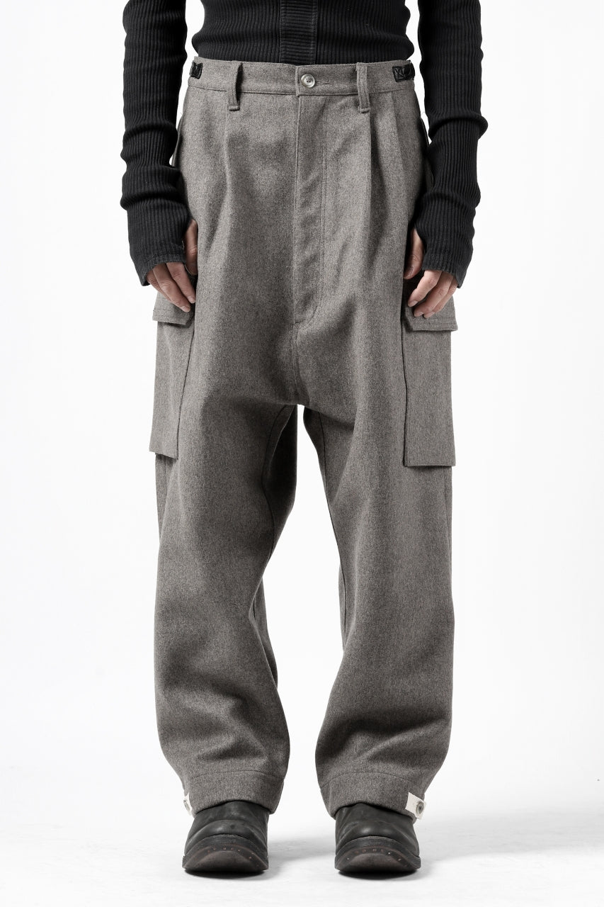 ISAMU KATAYAMA BACKLASH LOW CROTCH CARGO PANTS / CASHMERE WOOL MELTON (GREY)