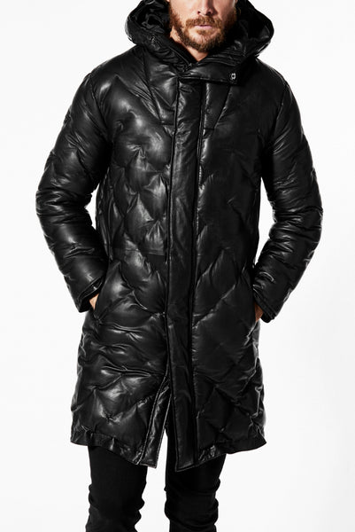 ISAMU KATAYAMA BACKLASH HOODED DAWN COAT / [KANGAROO LEATHER / POLAND WHITE GOOSE] (BLACK)