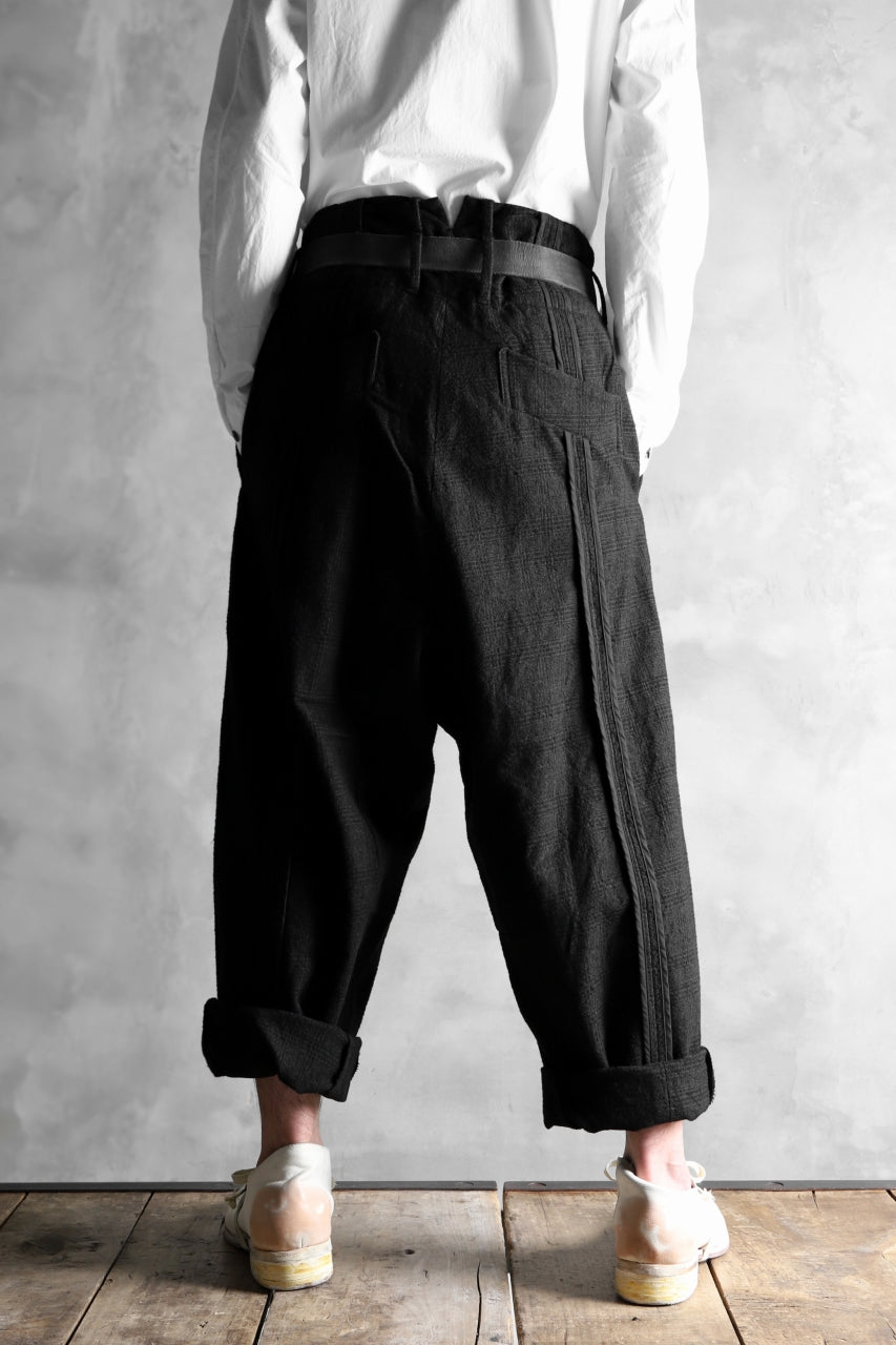 KLASICA DARK CHECK SABRON WIDE TROUSERS / WASH OUT MIX WEAVE (DARK CHECK)