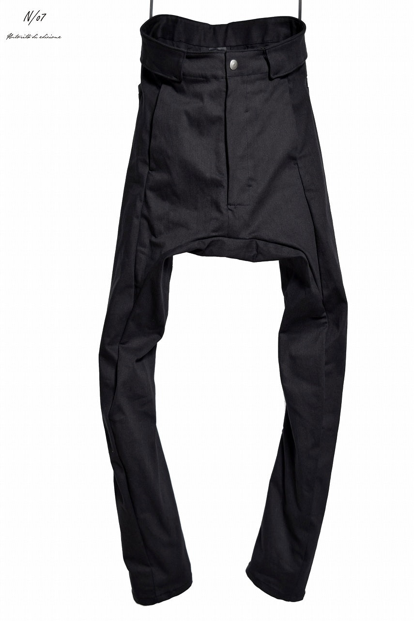 N/07 Spandex-denim stretch dropslim sarrouel pant (BLACK)