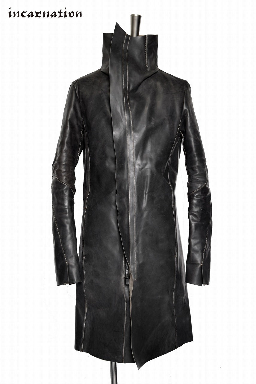"incarnation ""HORSE CORDOVAN"" HAND FINISHED HIGHNECK SPIRAL ARMCOAT UNLINED  ""OVERLOCKED"""
