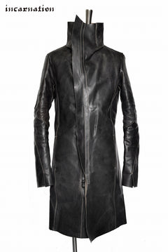 "Load image into Gallery viewer, incarnation ""HORSE CORDOVAN"" HAND FINISHED HIGHNECK SPIRAL ARMCOAT UNLINED  ""OVERLOCKED"""