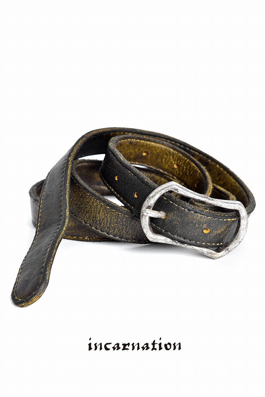 "incarnation CALF WHITE BELT 1' BUCKLE ""YELLOW DUST"""