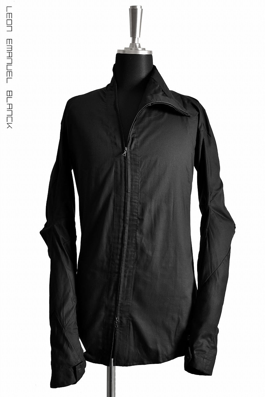 画像をギャラリービューアに読み込む, LEON EMANUEL BLANCK DISTORTION SHIRT JACKET / DRY WAX COATING (BLACK)
