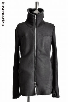 "Load image into Gallery viewer, incarnation exclusive ""SHEARLING MOUTON"" HIGH NECK ZIP FRONT COAT WITH GLOVE SLEEVE"