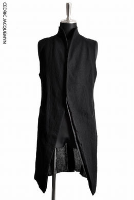 CEDRIC JACQUEMYN  LONG RAW COLLAR WAIST COAT VEST JA66B FA163 (BLACK)