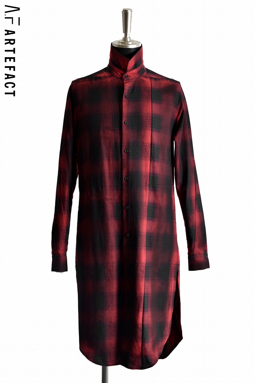A.F ARTEFACT Black Dye Over Lock Check Shirts (RED)