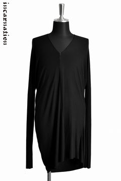 "画像をギャラリービューアに読み込む, incarnation VISCOSE SPANDEX ""OVERLOCKED"" DRESS V-NECK LONG SLEEVE T-SHIRT (BLACK)"