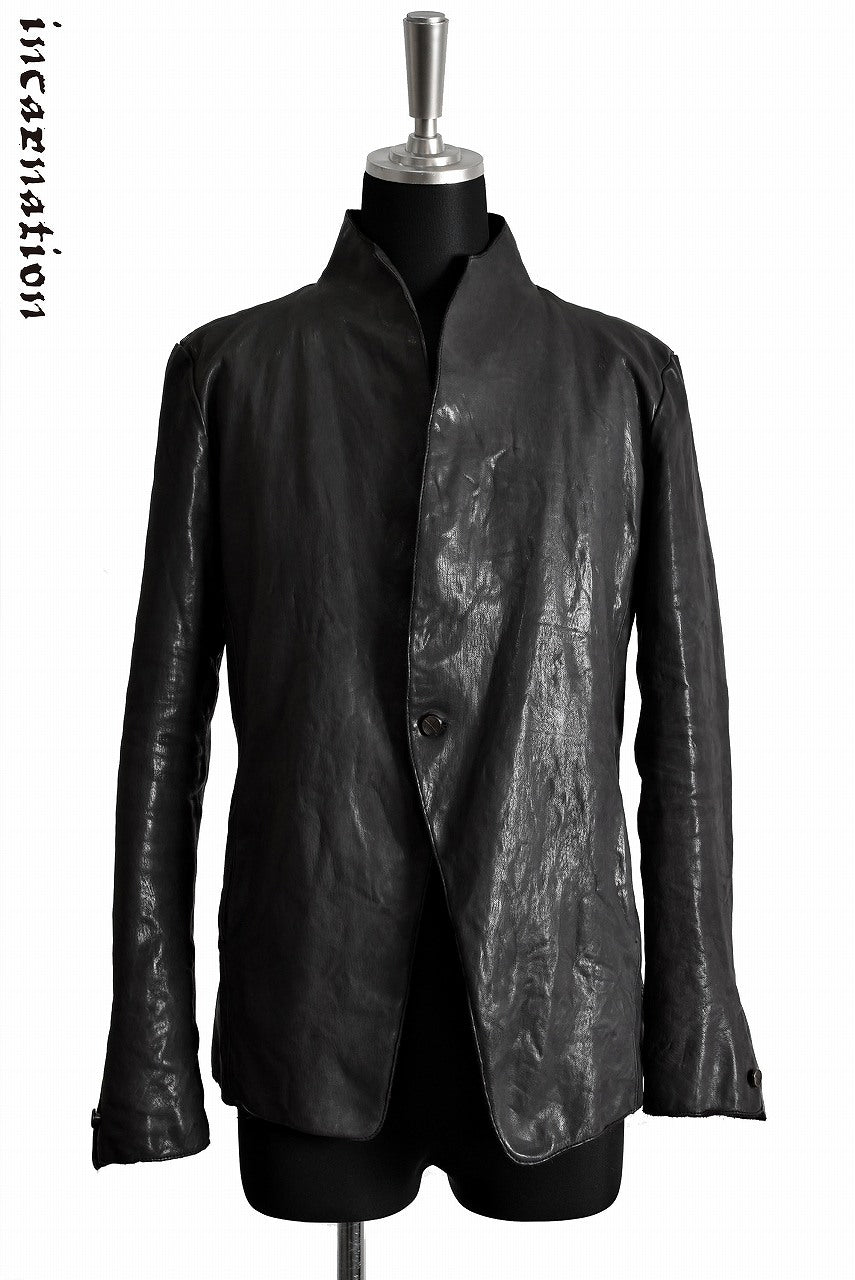 Load image into Gallery viewer, incarnation CALF SKIN LEATHER 1 SNAP BUTTON JACKET (GREY)