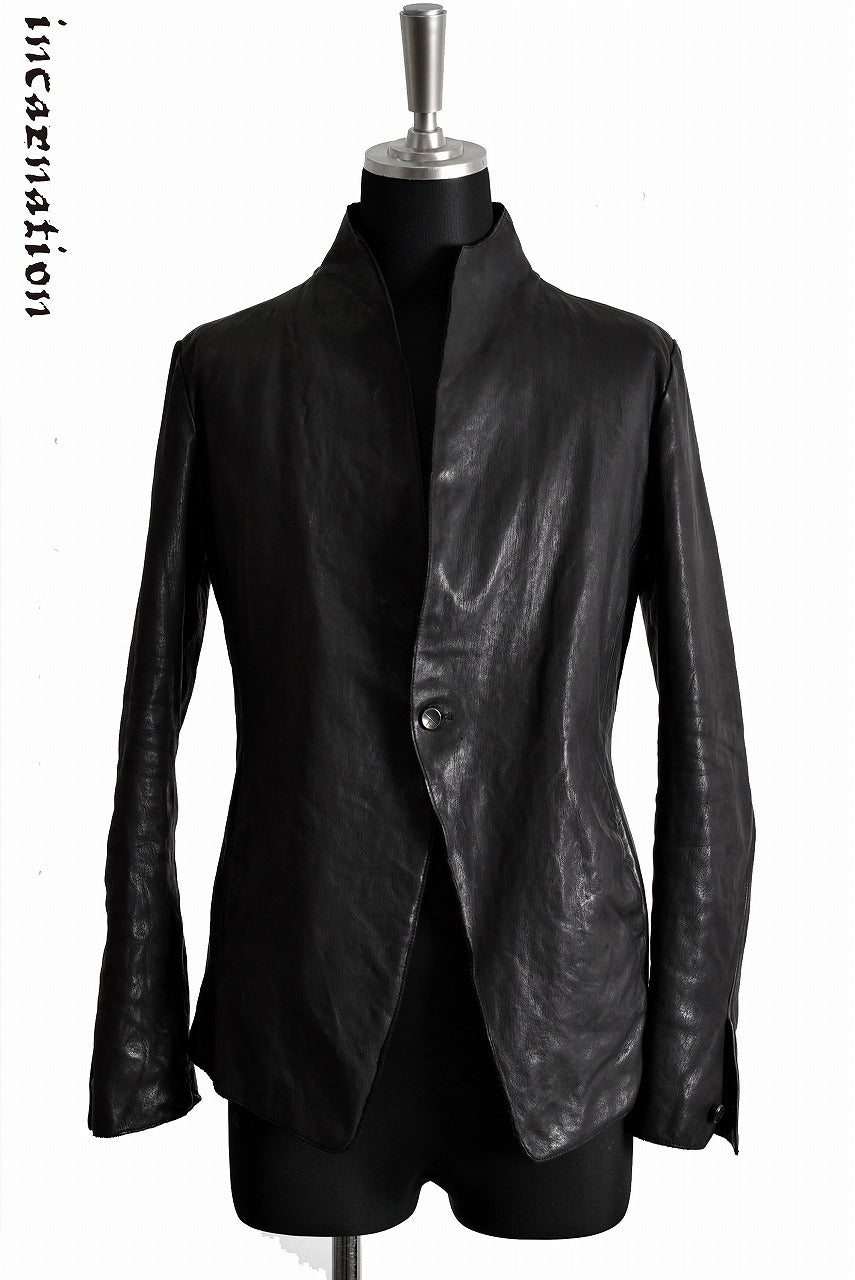 Load image into Gallery viewer, incarnation CALF SKIN LEATHER 1 SNAP BUTTON JACKET (BLACK)