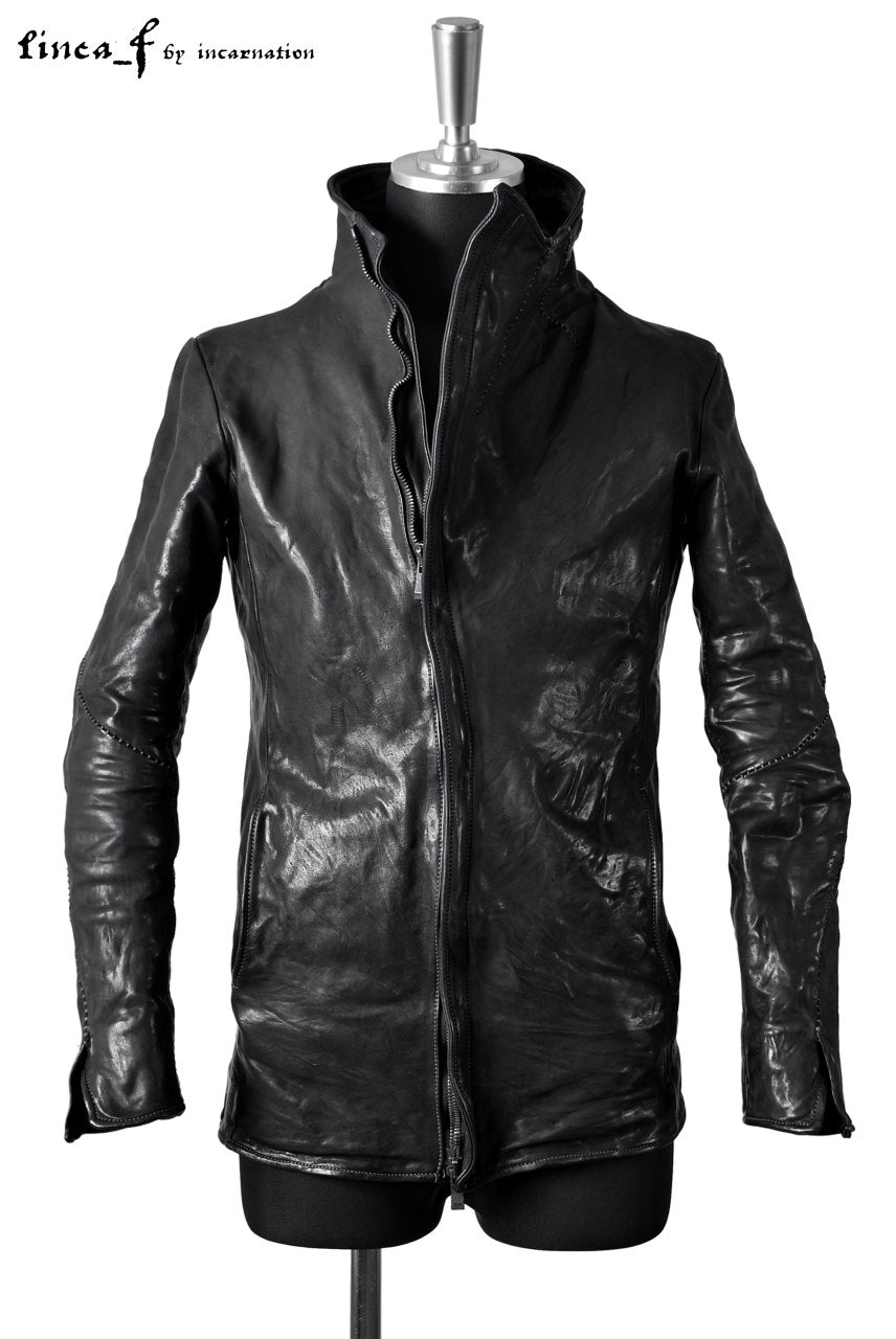 LINEA_F by incarnation OVER LOCKED HORSE LEATHER BLOUSON with HIGH NECK & SPIRAL ARM