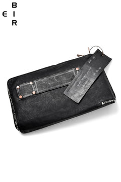 Load image into Gallery viewer, ierib onepiece clutch-bag / waxy Italian lambskin full vegetable tanned (BLACK)
