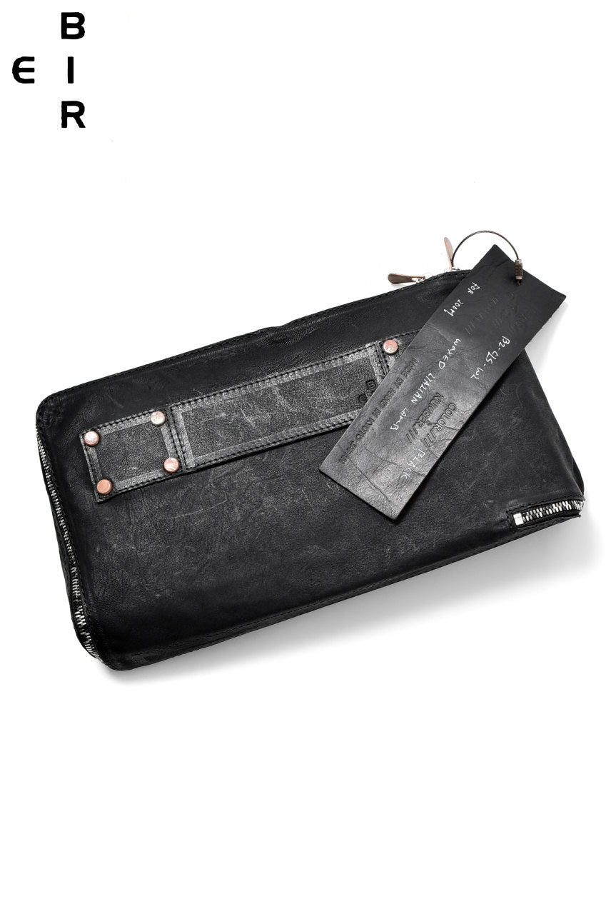 ierib onepiece clutch-bag / waxy Italian lambskin full vegetable tanned (BLACK)