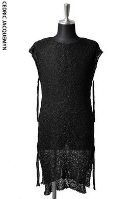 CEDRIC JACQUEMYN LONG SLEEVELESS SIDETONE SWEATER KN54 YALXB (BLACK)