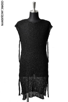 画像をギャラリービューアに読み込む, CEDRIC JACQUEMYN LONG SLEEVELESS SIDETONE SWEATER KN54 YALXB (BLACK)
