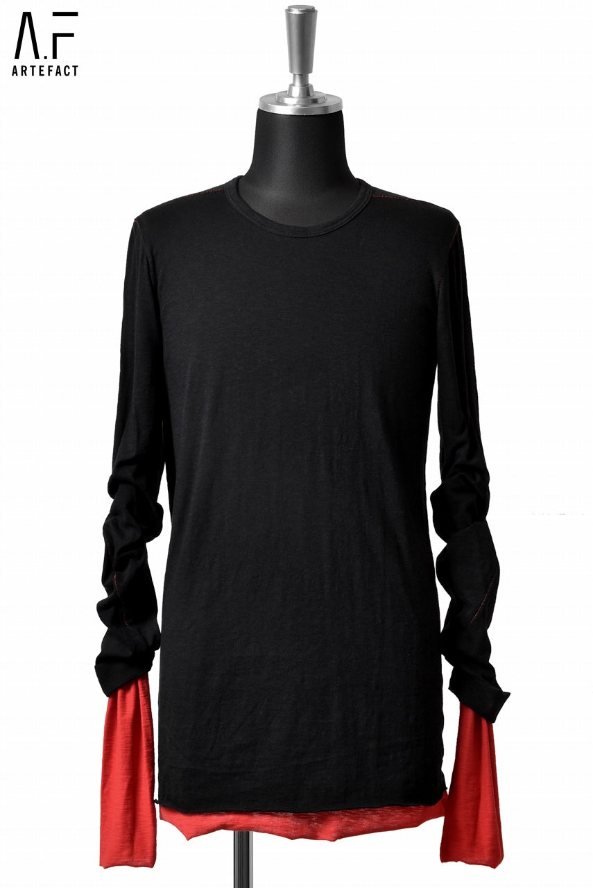 A.F ARTEFACT exclucive SLAB COTTON REVERSIBLE LAYERD LS TOPS (BLACK×RED)
