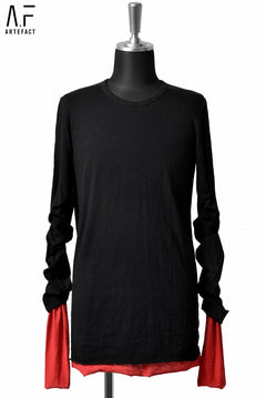 画像をギャラリービューアに読み込む, A.F ARTEFACT exclucive SLAB COTTON REVERSIBLE LAYERD LS TOPS (BLACK×RED)