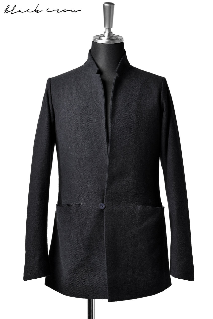 blackcrow 1B jacket silk wool cotton tweed with leather button (NAVY)