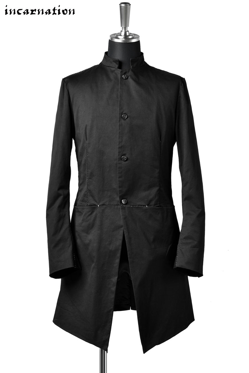 "incarnation exclusive 4B LONG JACKET ""OVERLOCKED"" DOBBY COTTON STRETCH with LINED"