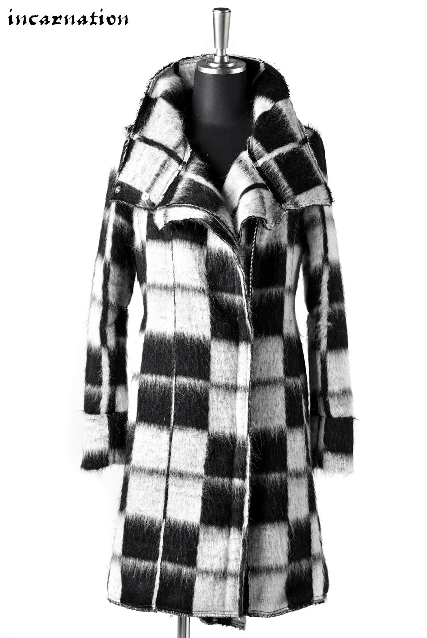 incarnation exclusive WOOL CHECK FLAP FRONT ZIP COAT