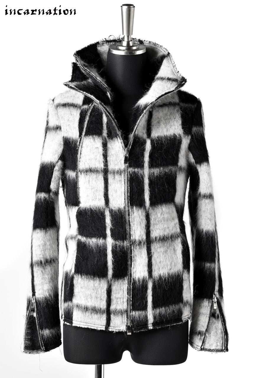 incarnation exclusive WOOL CHECK WIDE NECK DUAL ZIP BLOUZON LINED