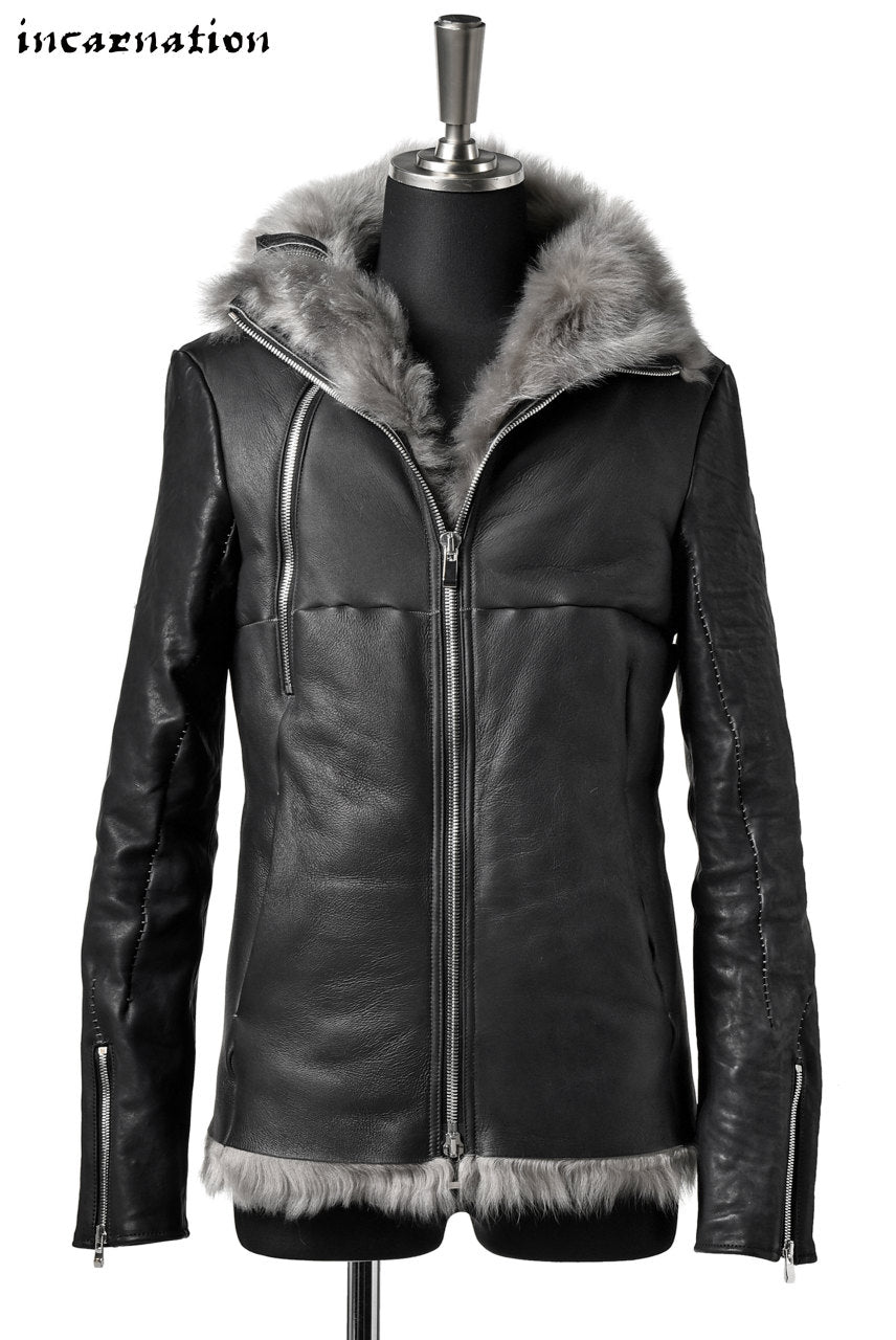 "incarnation SHEEP SHEARLING MOUTON / HORSE LEATHER ""OVERLOCKED"" WIDE NECK DUAL ZIP BLOUSON"