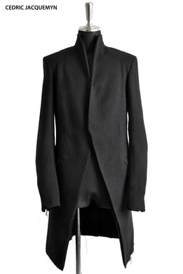 CEDRIC JACQUEMYN exclusive LONG RAW COLLAR COAT (BLACK)