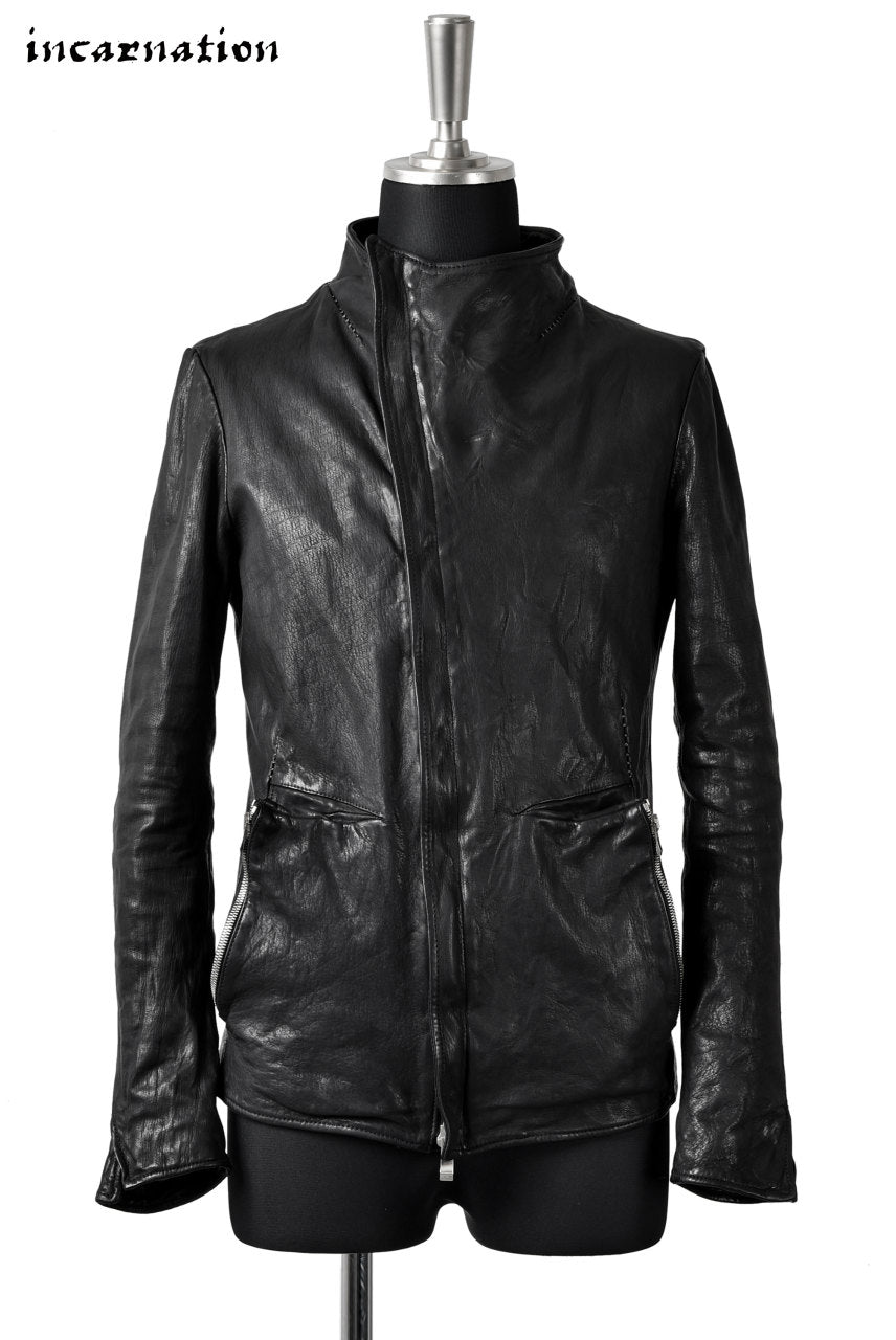 "incarnation exclusive ""OVERLOCKED"" CALF MIDDLE NECK BIAS ZIP BLOUSON LINED with POCKET"