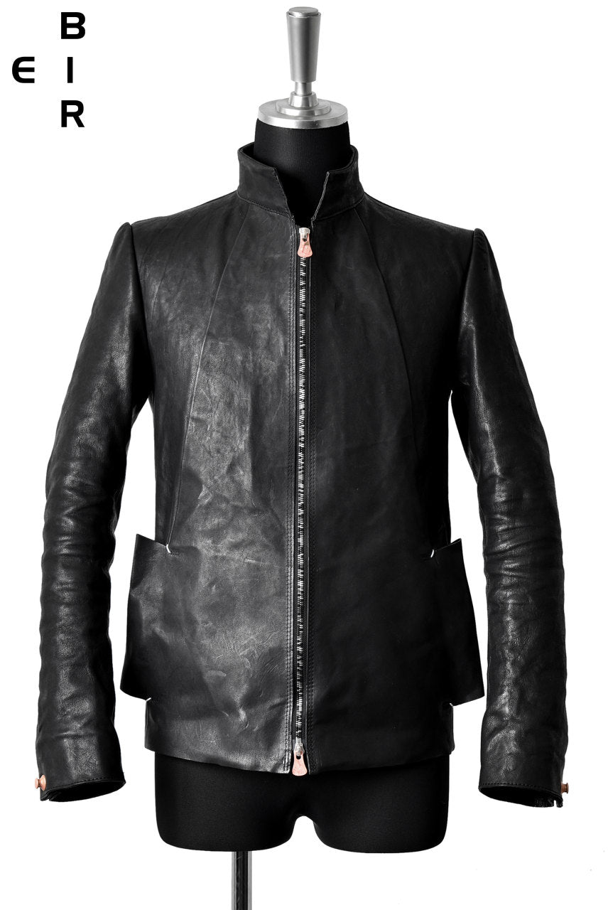 ierib classic zipper jacket / waxy Italian lambskin full vegetable tanned (BLACK)