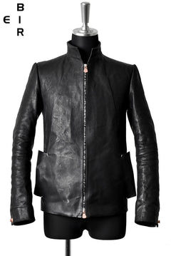 Load image into Gallery viewer, ierib classic zipper jacket / waxy Italian lambskin full vegetable tanned (BLACK)