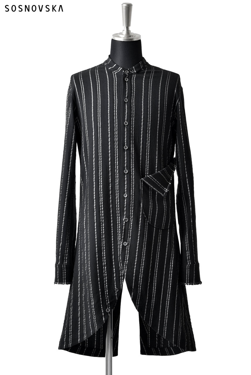 SOSNOVSKA LONG STRIPED SHIRT (BLACK×SILVER STRIPE)