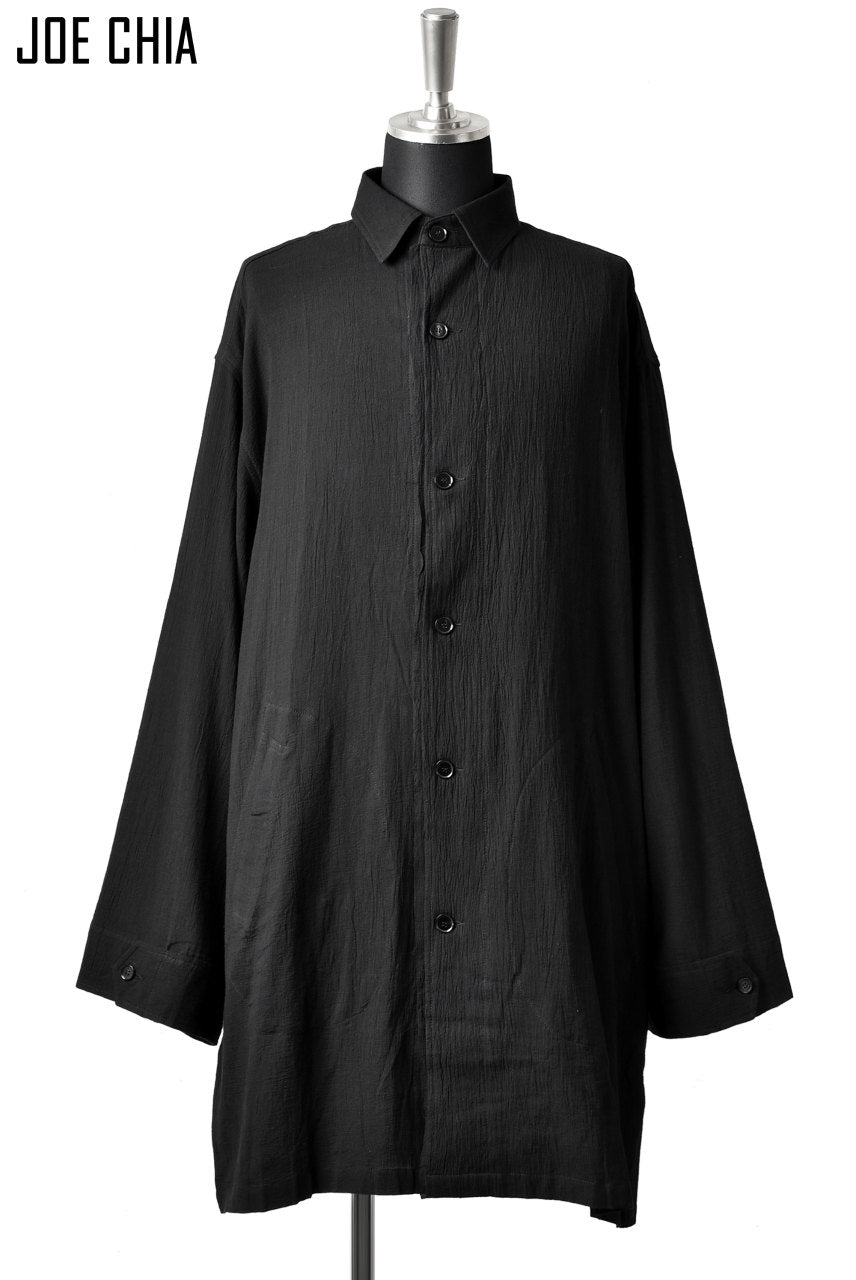 JOE CHIA OVERSIZED LONG SHIRT JACKET / YOURYU (BLACK)