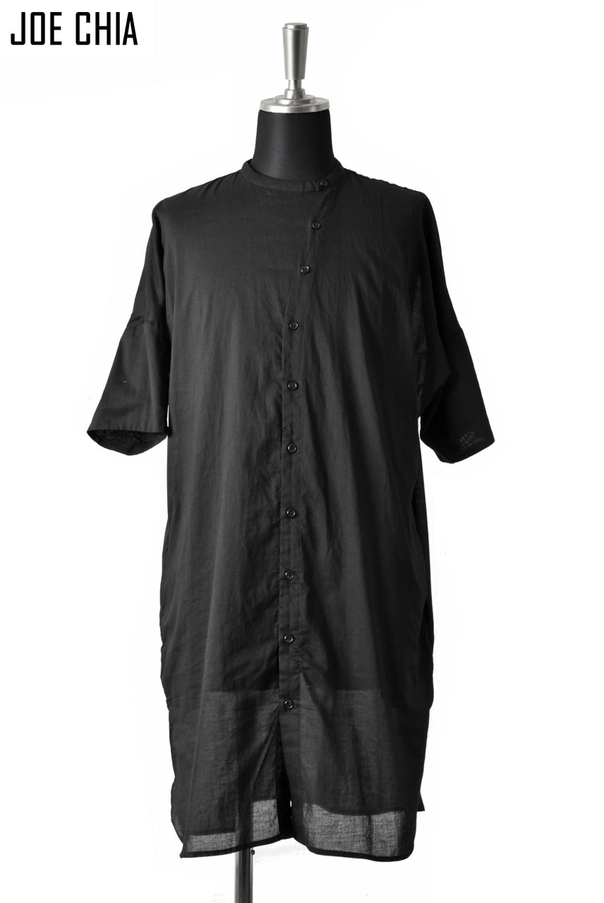 JOE CHIA FUNNEL BUTTON STAND SHIRT (BLACK)