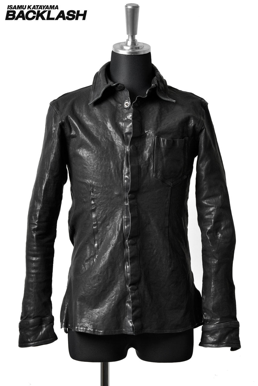画像をギャラリービューアに読み込む, ISAMU KATAYAMA BACKLASH exclusive LEATHER SHIRT / CALF GARMENT-DYED (BLACK)