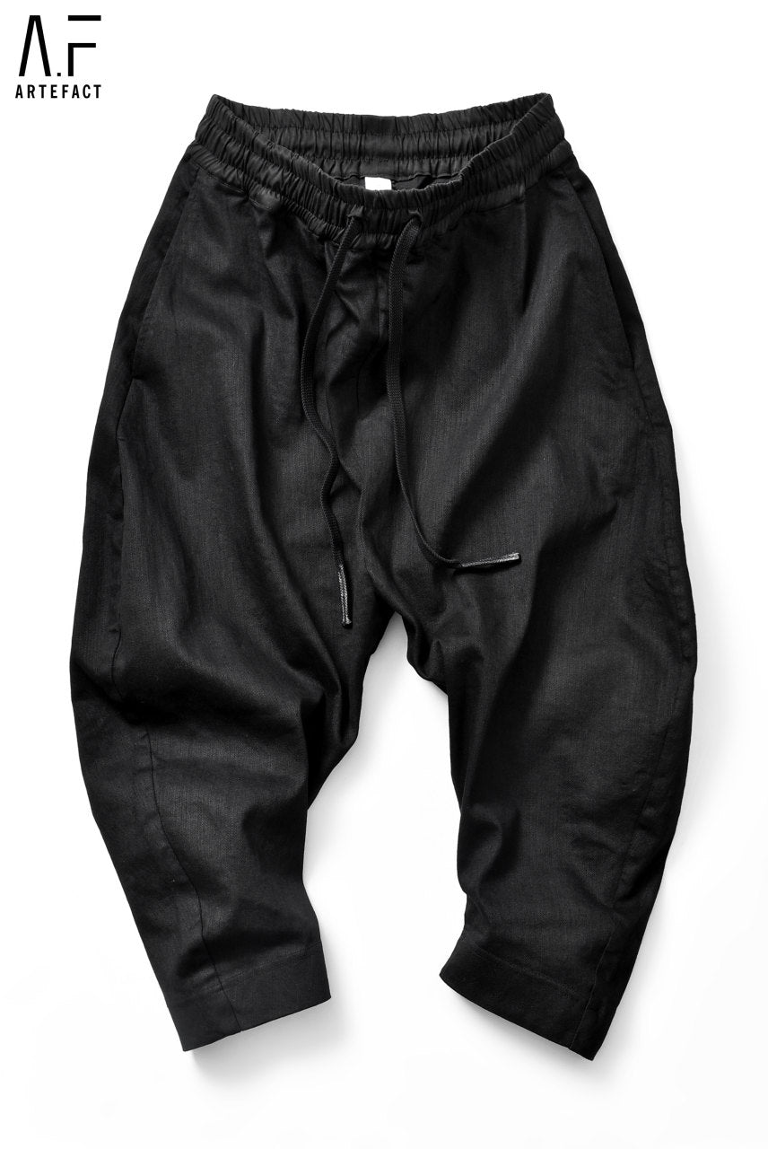 A.F ARTEFACT exclusive CURVED-JODPHUR CROPPED PT / HIGH STRETCH DENIM (BLACK)