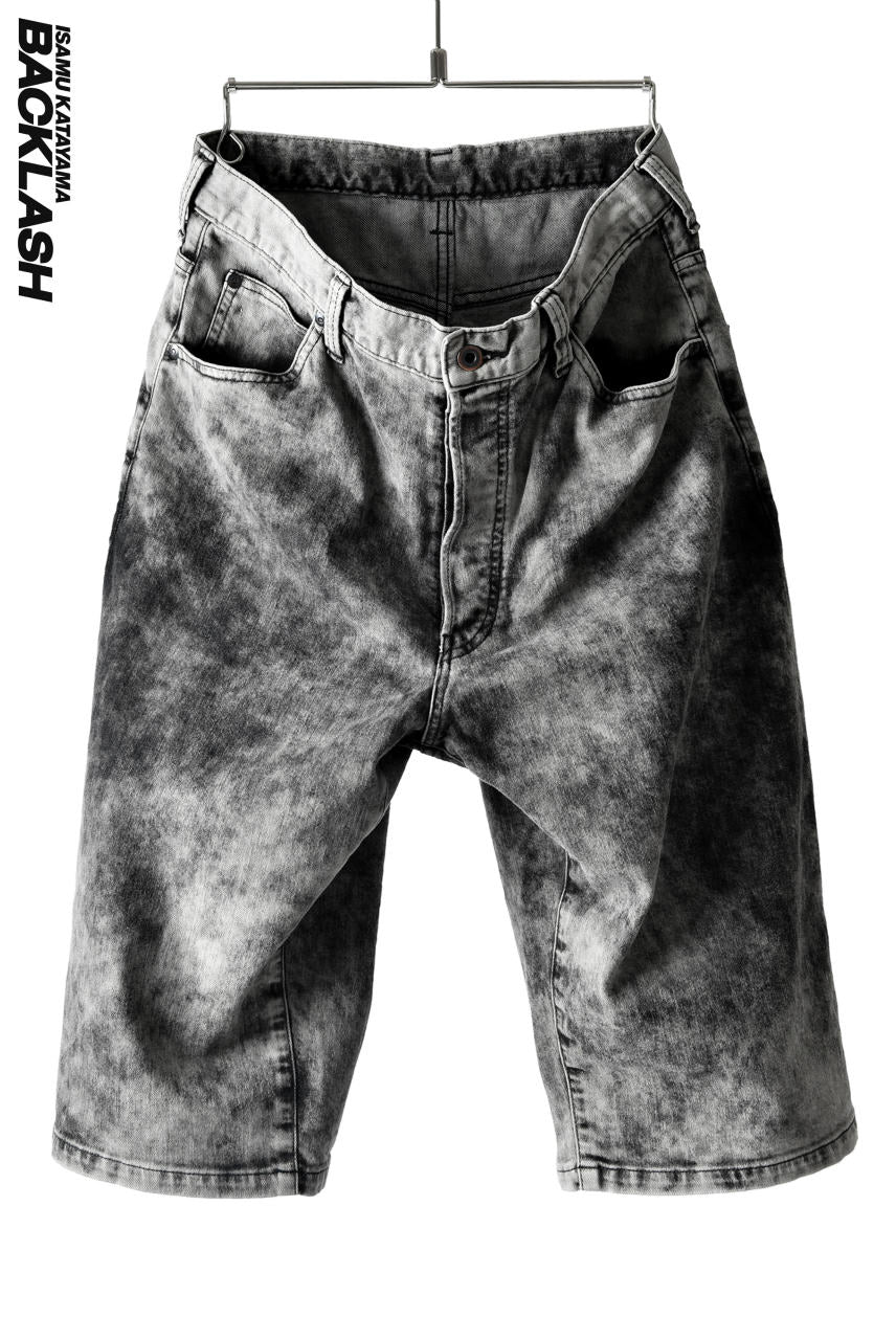 画像をギャラリービューアに読み込む, ISAMU KATAYAMA BACKLASH CLOUD PROCESSING DENIM SHORTS (BLACK)