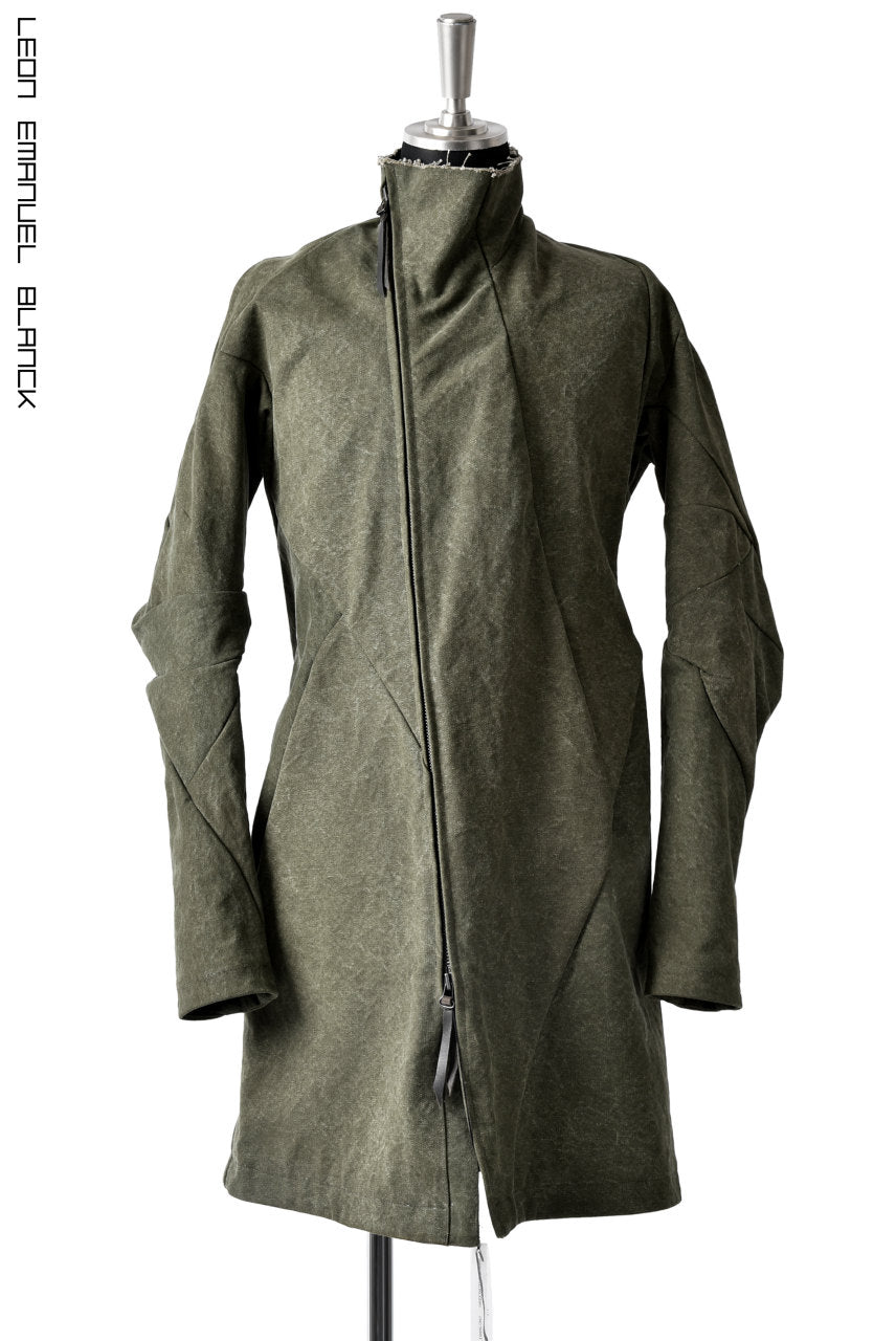 画像をギャラリービューアに読み込む, LEON EMANUEL BLANCK DISTORTION SHORT TRENCH COAT / 24oz CANVAS (KHAKI GREEN)