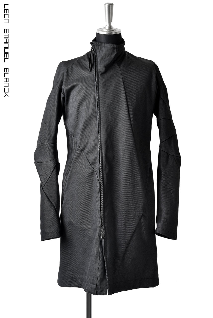 LEON EMANUEL BLANCK DISTORTION SHORT TRENCH COAT / CORDUROY (BLACK)