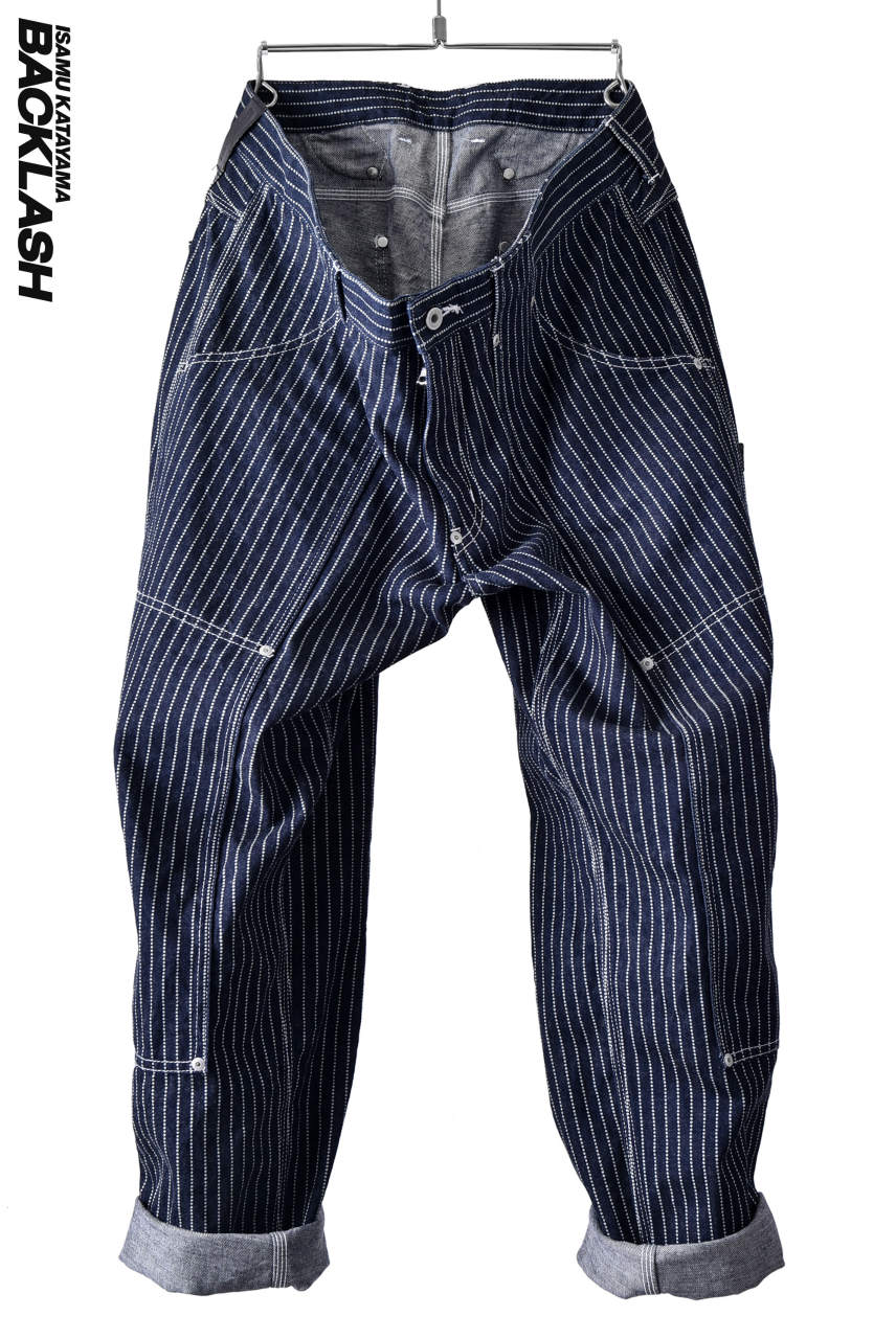 ISAMU KATAYAMA BACKLASH WIDE WORKER TROUSERS [ WABASH STRIPE ] (BLUE)