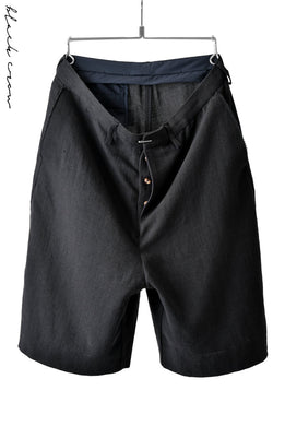 blackcrow linen-cotton woven short trousers (BLACK)