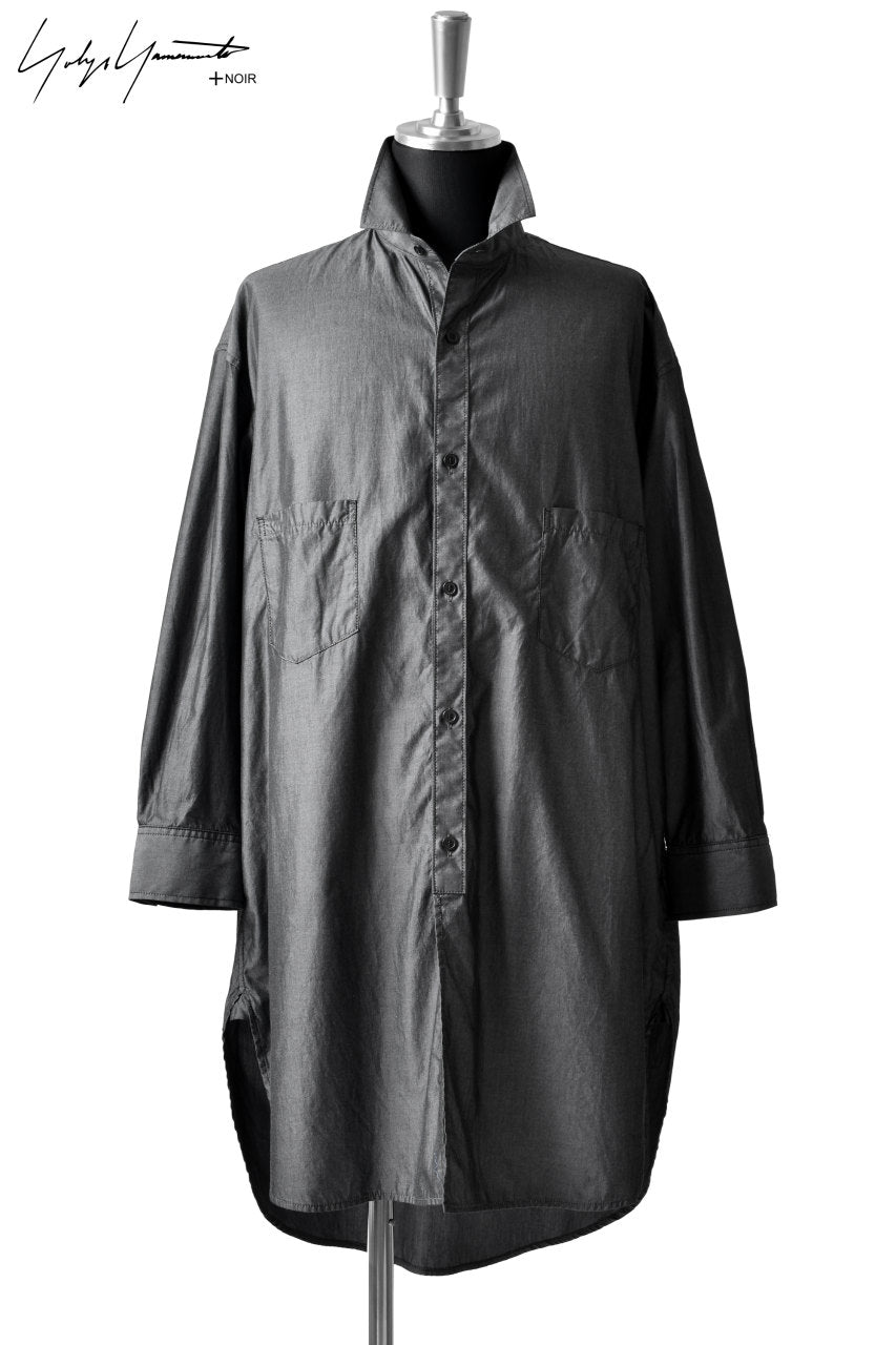 Load image into Gallery viewer, Yohji Yamamoto +NOIR ROUND HEM SHIRTS / CHAMBRAY (GREY)