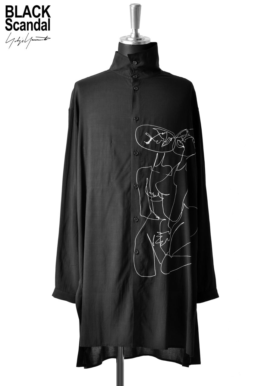 Yohji Yamamoto BLACK Scandal NUDE ILLUSTRATION LONG SHIRT (BLACK)