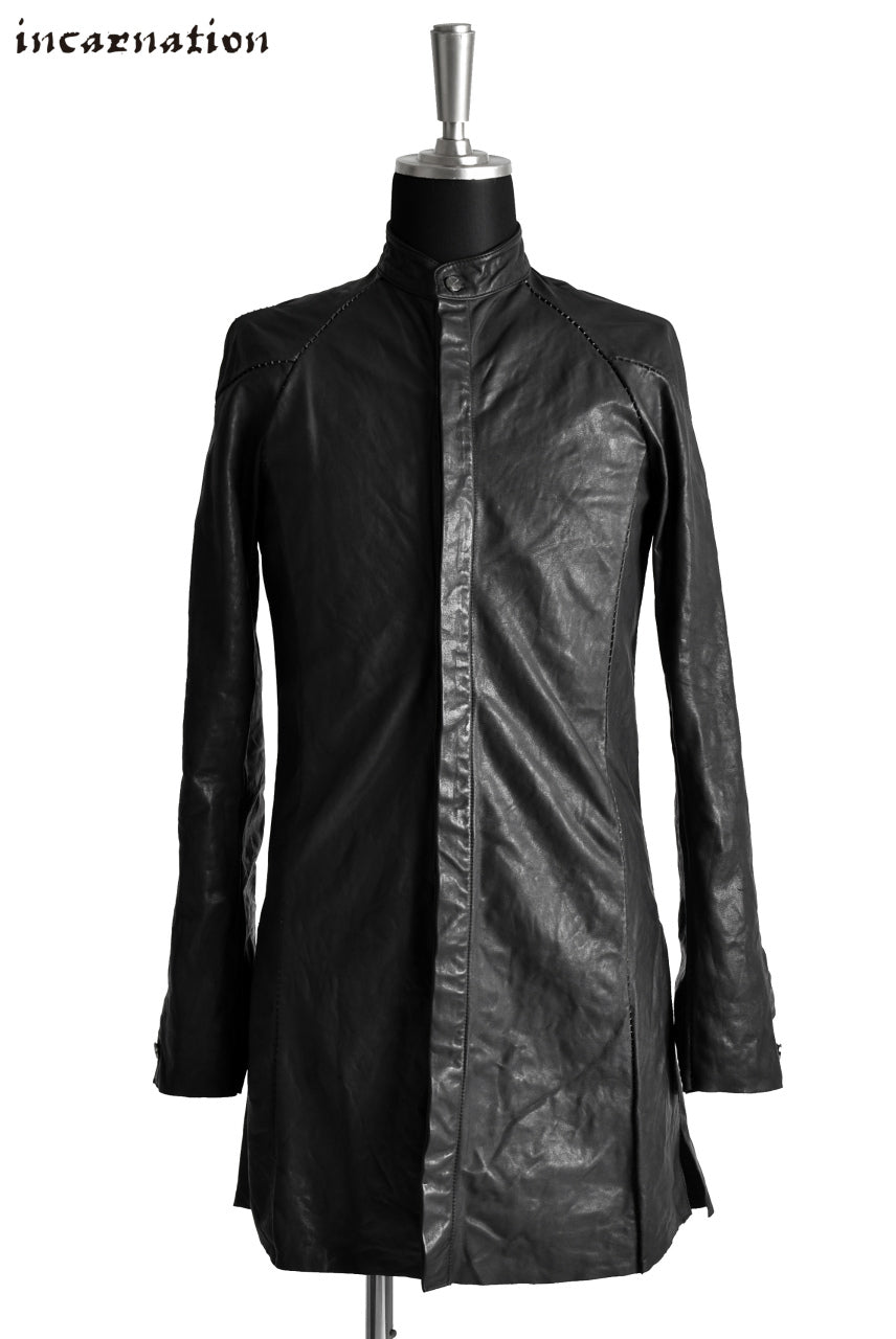 incarnation exclusive CALF LEATHER FRY FRONT BTN LONG SHIRT / OVERLOCKED