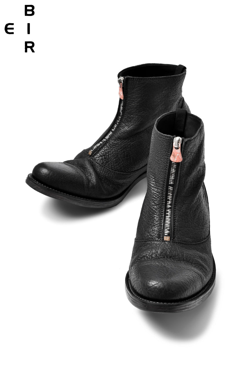 ierib exclusive fastner front middle boots / horse shrink (BLACK)