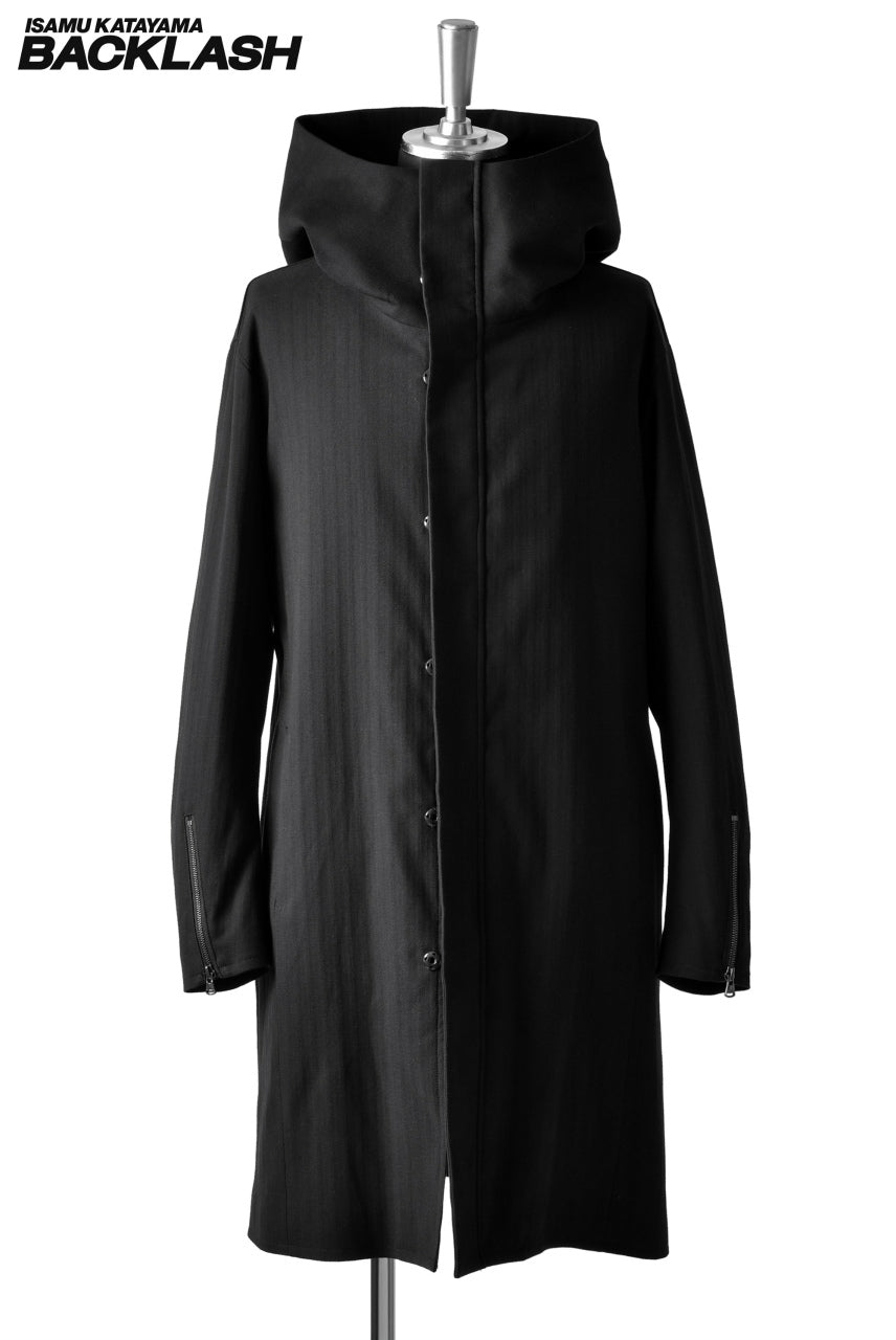 Load image into Gallery viewer, ISAMU KATAYAMA BACKLASH HERRINGBONE HOODED COAT (BLACK)
