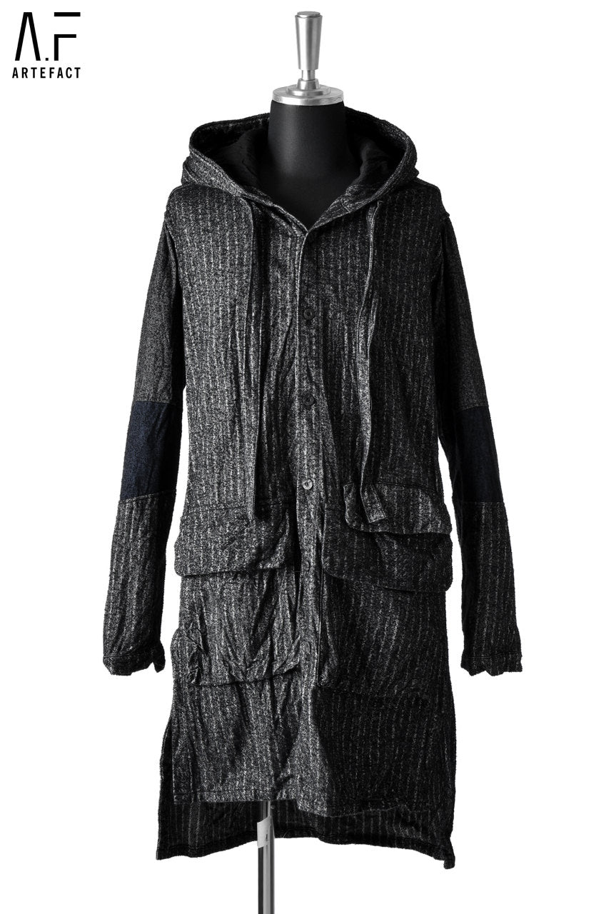 A.F ARTEFACT HOODED WORK COAT / Sumi Bincho Stripe
